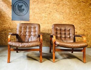 VINTAGE DANISH MID CENTURY 1 of 2  GOTE MOBLER LEATHER LOUNGE CHAIR (1)