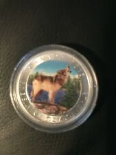 2015 3/4 oz Silver Canadian Wolf Summer Colored Series Only 1,000 minted!
