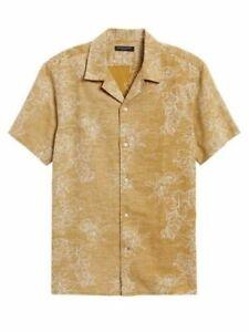 Banana Republic Men's Slim-Fit Linen Cotton Resort Shirt Size L Large NEW