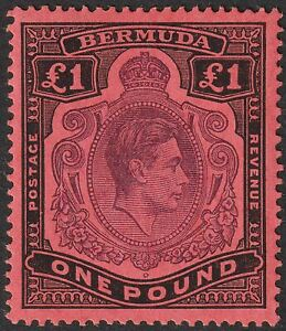 Bermuda 1946 KGVI £1 Bluish-Purple and Black on Salmon p14 Mint SG121c cat £60