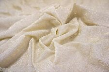 "CREAM GOLD SEE THRU STRETCH GLITTER METALLIC MESH FABRIC 60""W DANCE WEAR DECOR"