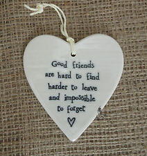 East of India White Porcelain Hanging Heart 4 Designs Friendship Hearts Gift Good Friends