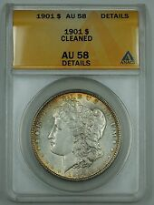 1901 Morgan Silver Dollar Coin, ANACS AU-58 Details, Cleaned, Light Toning, B