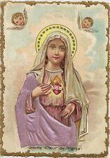 CHROMO RELIGION SACRE COEUR DE MARIE FORMAT 7.5 x 10.5 cm DOS VIERGE