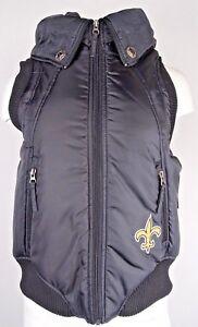 New Orleans Saints NFL Team Apparel Puffer Full Zip Black Hooded Vest Women S
