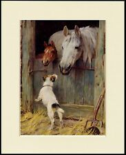 JACK RUSSELL WIRE FOX TERRIER AND HORSES DOG PRINT MOUNTED READY TO FRAME