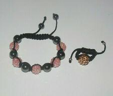 Lot Style Shamballa Bracelet + Bague Saumon & Doré NEUF