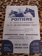 DEPLIANT CATALOGUE - 19e vente aux enchères de Poitiers - 85 chevaux - 11/1977