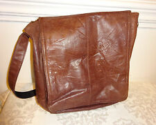 Vintage Brown Leather Flap Messenger Bag Laptop Satchel Portfolio Large Men's