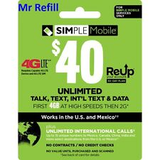 SIMPLE Mobile $40/Month Unlimited Plan Refill, fast & right