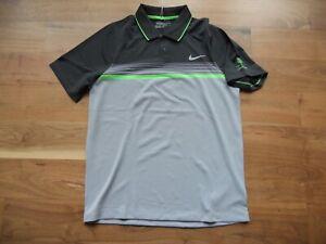 NWT Nike Golf Shirt Polo Tour Performance Gray/Green Striped Toscana CC Size M