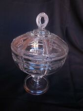 "Antique Pedestal Candy Dish Hand Cut 1920's Elegant with Lid Collectible 12"" T"