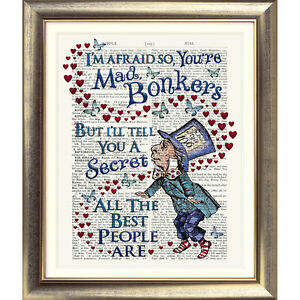 DICTIONARY ART PRINT ON ANTIQUE BOOK PAGE Alice in Wonderland BONKERS QUOTE old