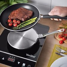 "VonShef Induction Hob Heat Diffuser 7.5"" Stainless Steel Stovetop Cooking Pan"