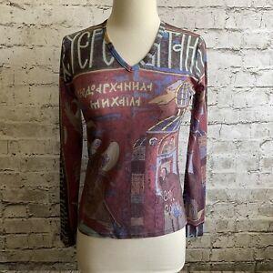COP COPINE Anthropologie Multicolor Sheer Mesh Long Sleeve Bordas T-Shirt Top L