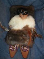 PAPOOSE ON CRADLE BOARD W/ PORCELAIN INDIAN BABY DOLL BEADS & RABBIT FUR ACCENT