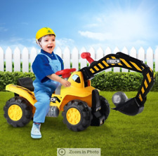 Kids Excavator Ride on Digger Bulldozer Loader Car w/Toy Stones & Safety Helmet