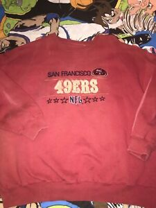 Vtg 90s SF 49ers Majestic Old English Logo Sweatshirt Gym Coaches Sideline Team