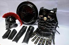 Medieval 300 spartan helmet, muscle armor, arm guard, leg guard & Shield black