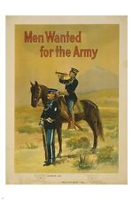 MEN WANTED for the army VINTAGE RECRUITMENT poster MILITARY collectors 24X36
