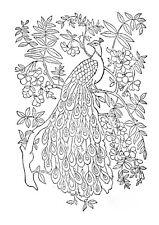 Vintage Visage iron on embroidery transfer- vintage peacock art nouveau design