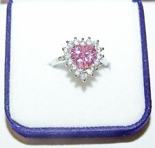 Sailor Moon Engagement Ring Size 6 - Heart Shaped Pink Rhinestone - Silverplated