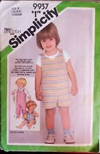 Vtg Simplicity time saver stretch pattern 9937 Toddlers Overalls sz 1 - 3 uncut