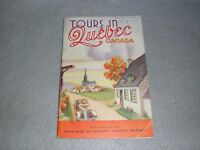 1938 Tours in Quebec Canada Illustrated Travel Vacation Tourism Brochure Book