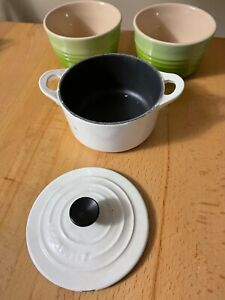Set of 3 LE CREUSET Stoneware Mini Coquette Handled Pot and Other Stoneware