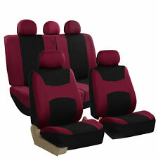 Car Seat Covers Burgundy Full Set for Auto SUV VAN w/5Headrests