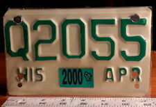 MOTORCYCLE LICENSE PLATE - WISCONSIN 2000 Q series, green on refl tan, nice orig