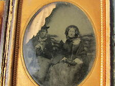 Antique Photograph Cased Outdoor Couple Man Top Hat Cane Woman In Wagon Dag
