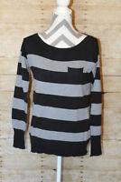Women's J Crew Black Gray Sweater Striped Crest Pocket Boat Neck Size Small