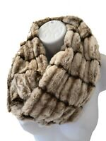 Ladies Women Girl Short Textured Faux Fur BROWN Snood Soft Winter Scarf