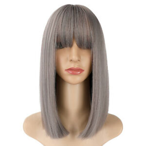 14inch Cosplay wig with bangs Grey Daily use Women Heat resistant hair