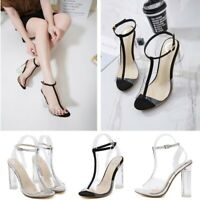 Women's T-Strappy Transparent Block High Heels Peep Toe Stiletto Sandals Shoes