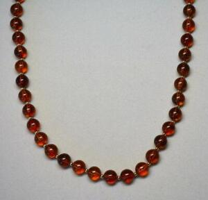 """SIGNED JOAN RIVERS GOLD PLATED FAUX AMBER RESIN BEAD NECKLACE NEW  31"""" LONG"""
