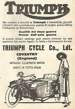 Y2963 Moto Triumph con Sidecar - Pubblicità del 1923 - Old advert