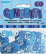 Blue Glitz Age 60 Birthday Table Confetti 14 Gram Packet 60th Party Decorations