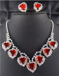 Rhinestone Silver Crystal Red Heart Formal Prom Wedding Necklace Earrings Set