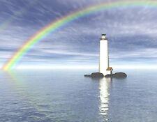 METAL FRIDGE MAGNET Digital Visualization Of Lighthouse In Water Rainbow