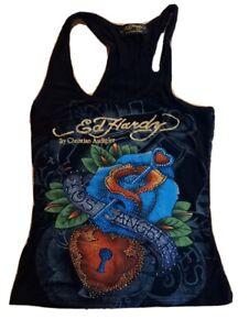 Ed Hardy By Christian Audigier Top Singlet Los Angeles  Sz S Key Heart