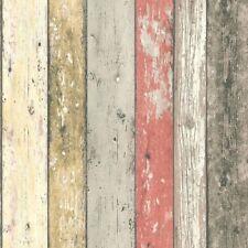 Rosso Arancione Carta da parati effetto legno con effetto invecchiato in legno grano CABINA Caratteristica Vinile