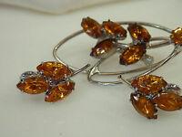 Pretty 50's Amber Orange Navette Rhineestone Brooch Earrings 131f5