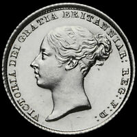 1839 Queen Victoria Young Head Silver Sixpence, Scarce, UNC