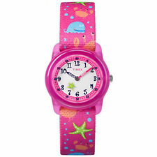 Kids Timex Time Teacher Pink Elastic Fabric Band Watch TW7C13600