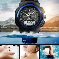 Herren Digital Quarzuhr Alarm 50m wasserdicht Outdoor Sport Armbanduhr Q4E9