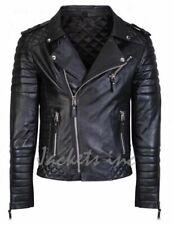 New Men's Genuine Lambskin Leather Jacket BLACK Slim fit Biker jacket B49