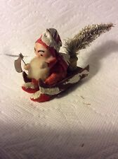 Old Japan Chenille And Paper Santa On Sled Christmas Ornament