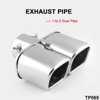 """Rectangle silver Car Stainless Steel Dual EXHAUST Tail Muffler Tip Pipe 2.5"""""""